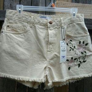 Zara Basics High Waist Creme & Floral Denim Shorts